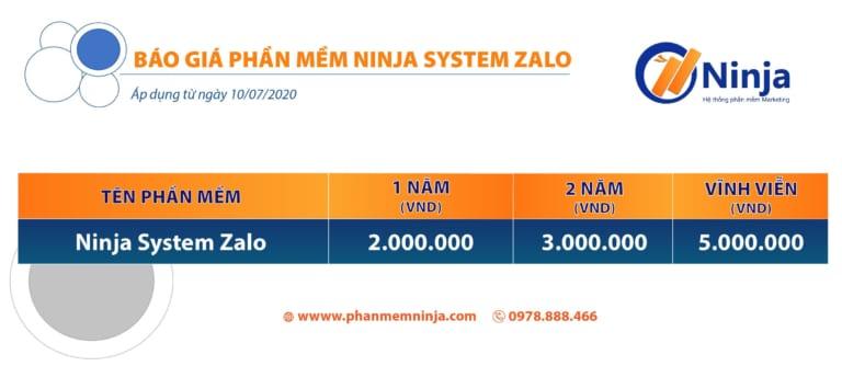 BẢNG GIÁ NINJA SYSTEM ZALO