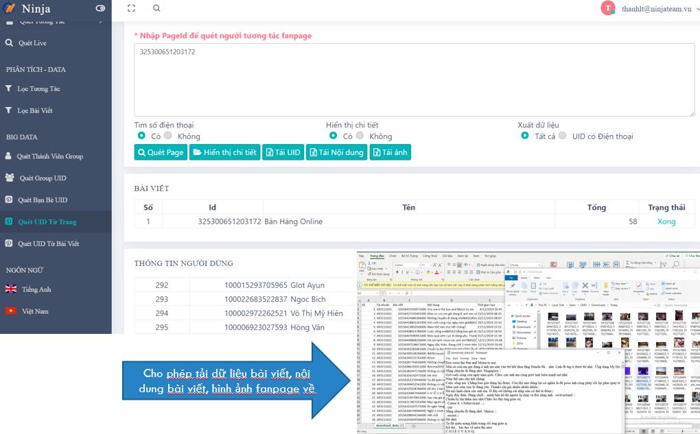 Tự động quét uid từ trang vơi sphaafn mềm phân tích, convert uid