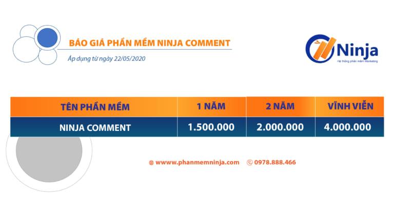 bảng giá phần mềm ninja comment
