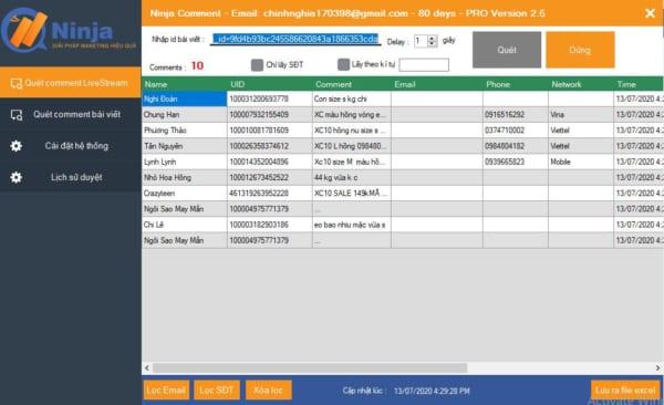 Phần mềm lọc đơn Livestream tự động