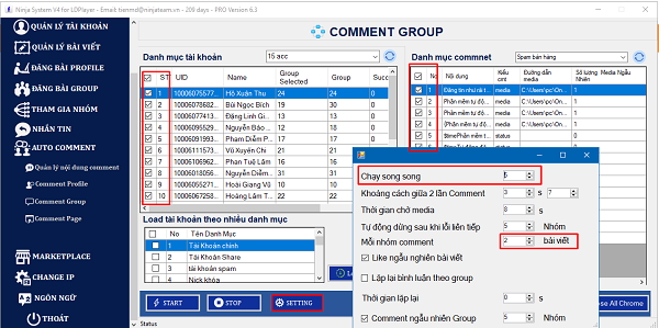 cài đặt tự động Cài đặt thông số trước khi auto comment group facebook